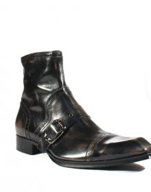 New Handmade Mens Handpainted Square-Toe Buckle Boots