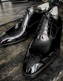 Handmade Men American Luxury Brogues Toe Black Leather Shoes, leather shoes