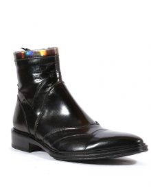 New Handmade Italian Mens Black / Silver Leather Boot