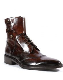New Handmade Mens Italian Inglese Brown Leather Boots