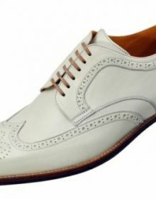 Men Oxford White Color Full Brogue Toe Wing Tip Handmade Genuine Leather Shoes