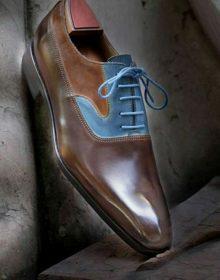 Handmade men leather unique design oxford lace up dress shoes men lace shoes