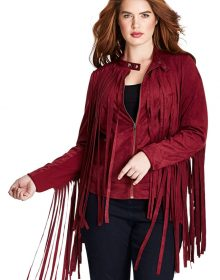 Women's New Native American Red Buckskin Suede Leather Fringes Biker Hippy Jacket / Coat