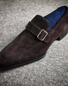 Handmade Men brown Suede monk shoes, Men formal shoes, Men dress shoes