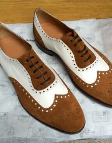 Vintage Fashion Genuine Leather Two Brown Whiite Tone Party Wear Wing Tip Shoes