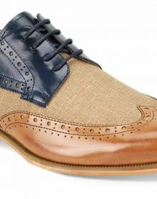 Men's Handmade Two Tone Tan Blue Derby Wing Tip Tweed Leather Lace up Shoes