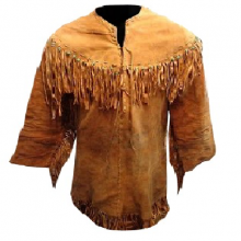 Men's New Native American Tan Brown Buckskin Suede Leather Fringes Jacket / Shirt