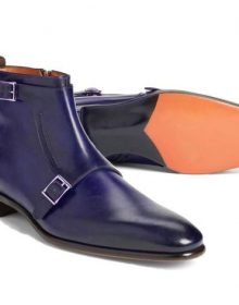 New Men's Blue Straps Ankle High Leather Double Monk Handmade, Men's Boot