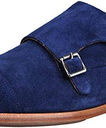 Men's Monk Strap Blue Loafers Handmade Leather Dress Shoes