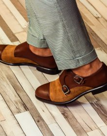 Two Tone Brown Tan Vintage Genuine Leather Cap Toe Party Wear Monk Buckle Shoes