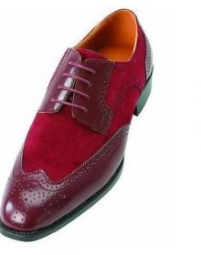 New handmade Men's Maroon Red Brogue Toe Wing Tip Suede Leather Lace up Shoes