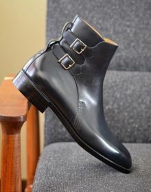 New Men's Black Double Buckle Ankle High Leather Derby Handmade, Men's Boot