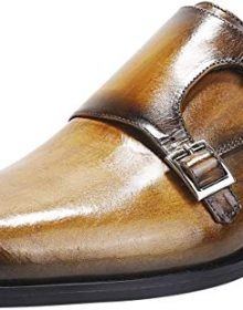 Men's Monk Strap Yellow Loafers Handmade Leather Dress Shoes