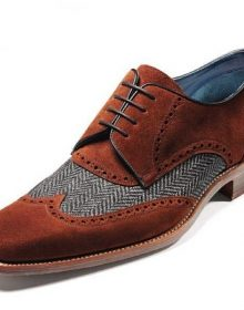 Oxford Two Tone Brown Color Suede Wing Tip Tweed Genuine Leather Lace Up Shoes