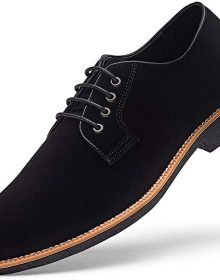 New Handmade Men's Suede Black Dress Shoes Casual Lace up Oxford Shoes