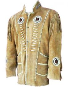 Men's New Native American Beige Suede Leather Beads Fringes Jacket