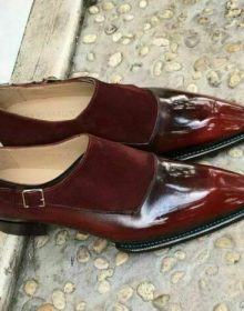 Handmade Brown Suede Monk Shoes Oxford Men burgundy Monk Genuine Leather Shoes