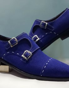 Handmade Men's Genuine Blue Suede Double Monk Luxury Dress Formal Wedding Shoes