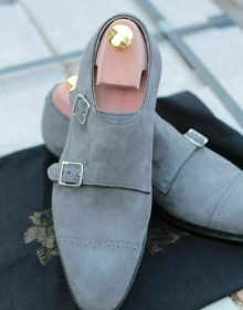 Handmade Men Gray color Suede monk shoes, Men double monk Formal shoes Men shoes