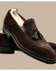 Men's Handmade Dark Brown Suede Loafer Slipper Party Dress Fashion Tussles Shoes