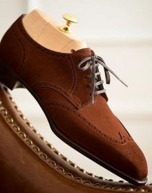 Men's Handmade Dark Brown Suede Lace Up Wing Tip Brogue Fashion shoes