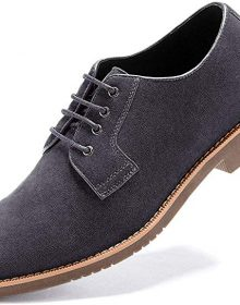 New Handmade Men's Suede Grey Dress Casual Lace up Oxford Shoes