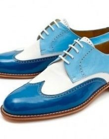 Handmade Men Wing Tip Leather & Suede Shoes, Men's Lace Up Two Tone Blue White