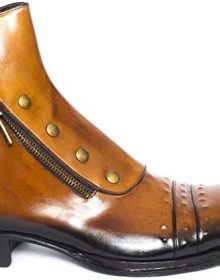 New Handmade Men Tan Cognac Leather Ankle High Boots