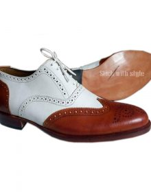 Men's Handcrafted White Tan Brogue Wing Tip Oxfords Lace Up Formal Leather Shoes