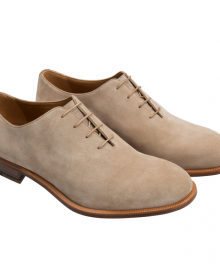 New Men's Handmade Beige Calfskin Suede Leather Oxford Shoes