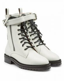 Rounded Buckle Strap Vintage Leather Lace Up Men High Ankle White Tone Boots