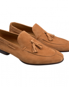 New Men's Handmade Brown Calf-skin Suede Tassel Loafers Moccasin Shoes