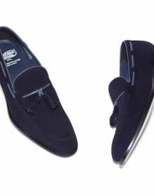 New Men's Handmade Navy Suede Tassel Loafers Shoes