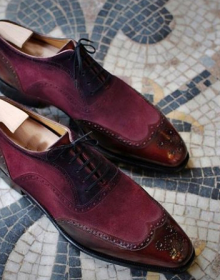 New Men Two Tone Maroon Suede Brogue Toe Wing Tip Oxford Real Leather Shoes