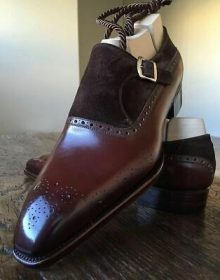 Mens Dark Maroon Brown Tone Burnished Brogue Toe Leather Monk Buckle Strap Shoes