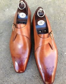 Two Tone Tan Brown Monk Single Buckle Burnished Medallion Toe Real Leather Shoes
