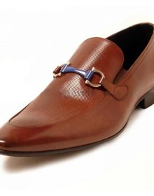 New Handmade Men Brown Leather Loafer Shoes With Bracelet