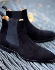 New Men's black Suede leather casual ankle boots, Men suede Chelsea boots