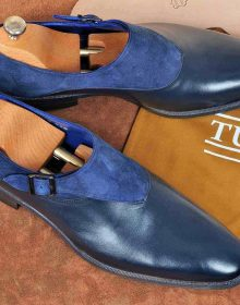 Men Two Tone Blue Suede Monk Single Buckle Strap Plain Toe Leather Shoes handmad