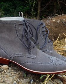 Men Gray Suede Wing Tip Full Brogue Toe High Ankle Leather Lace up Boots