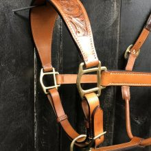 Leather Halter with Floral Tooled Nose Band - Horse Size - Brass Hardware