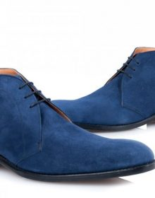 New Men's Blue Derby Chukka Lace Up Ankle High Suede Handmade, Men's Boot