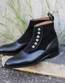 Handmade men Black Side Buttons Two Tone Color Boots