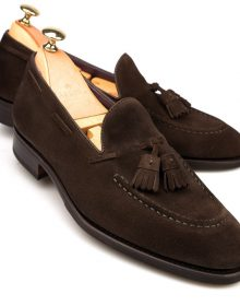 Brown Tassel Loafer Slip Ons Suede Leather Apron Toe Handcrafted Stylish Shoes