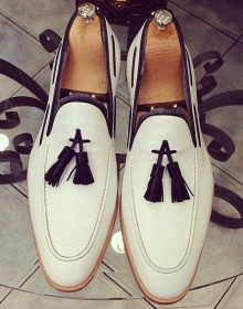 White Apron Toe Tassel Loafer Slip Ons Genuine Leather Party Wear Shoes