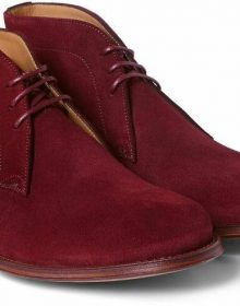 New Men's Maroon Red Chukka Suede Leather Handmade Stylish Lace Up Rounded Toe
