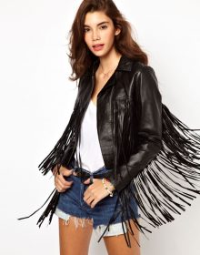Women's New Native American Black Buckskin Leather Fringes Biker Hippy Jacket / Coat