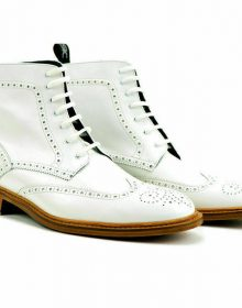 Handmade Men White Brogues Toe Wing Tip Ankle Boots Men White Lace Up For Mens