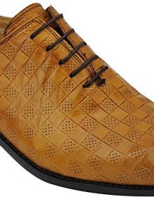 Mens New Real Leather Tan Perforated Vintage Lace upSmart Dress Oxford Shoes