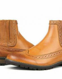 MENS HANDMADE BROWN TAN OXFORD PURE LEATHER CUSTOM MADE BOOTS FOR MEN